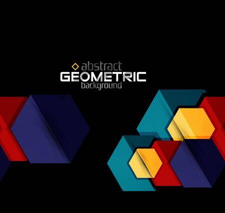 Strukturiertes Papier geometrische Formen auf Schwarzem . Vektor abstrakten Hintergrund Vektorgrafik