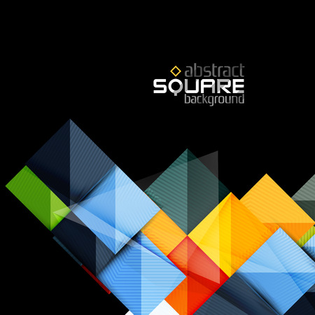 sheen: Glossy color squares on black. Geometric abstract background for your message. Vector Illustration