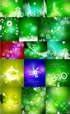 surprisingly: Mega set of shiny Christmas cards. Illustration