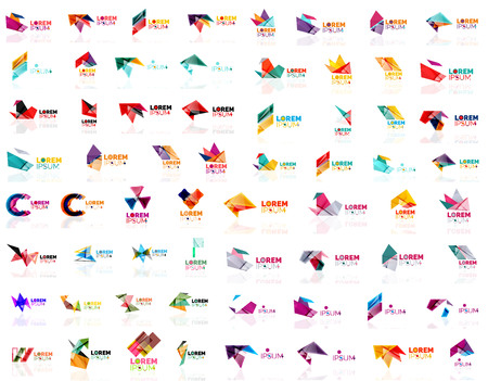 label tag: Paper style geometric shapes with glass effects. Corporate abstract logo design icon concepts.
