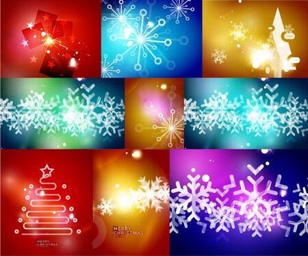 surprisingly: Mega set of shiny Christmas cards. Vector illustration Illustration