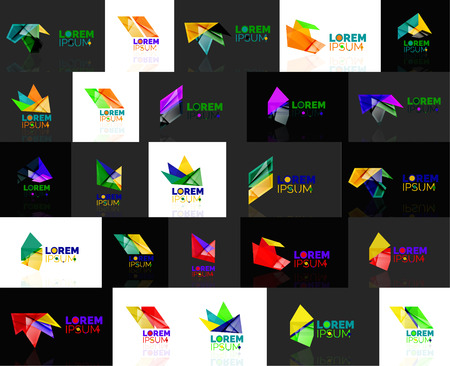 convergence: Triangle geometric shapes, set of abstract. Vector illustration - branding, corporate business company collection