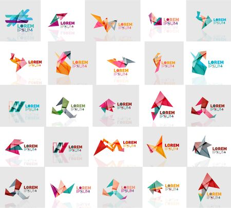 shape triangle: Collection of colorful abstract origami logos. Company universal concept branding identity emblem, elements, buttons