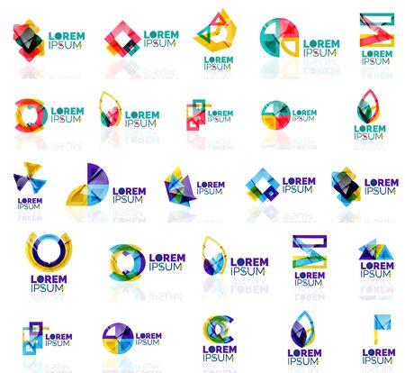 logos de empresas: Colección de coloridos logotipos origami abstractos. Compañía concepto universal emblema de identidad de marca, elementos, botones