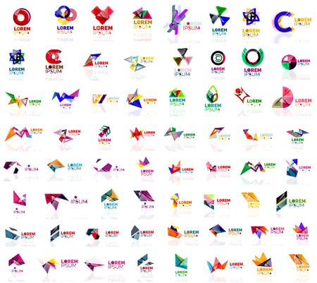 Mega set of paper logo abstract geometrical shapes. Company universal concept branding identity emblems, design elements, symbols templates Illustration