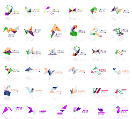 abstract logos: Set of linear abstract logos and swirl shapes. Company emblem, business icon. Vector illustration Illustration
