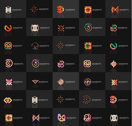 logotypes: Set of vector linear logotypes, geometric abstract symbols, elegant icons. Modern minimalist elements for branding and logo design.
