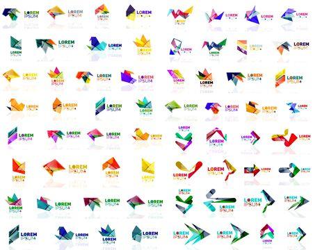 Mega set of paper logo abstract geometrical shapes. Company universal concept branding identity emblems, design elements, symbols templates