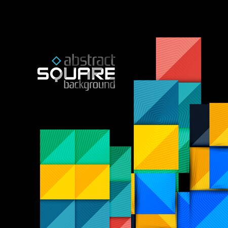 unoccupied: Glossy color squares on black. Geometric abstract background for your message. Vector Illustration