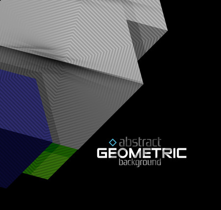 low relief: Vector color geometric shapes on black background. Illustration
