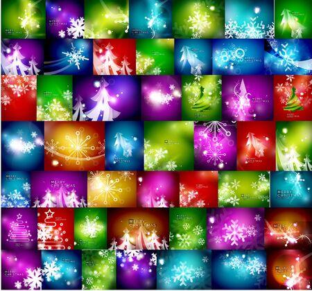 surprisingly: Mega set of shiny Christmas cards. Vector illustration Illustration