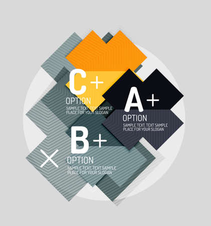versions: Paper style abstract geometric shapes with infographic options. Abstract universal design template. Vector illustration