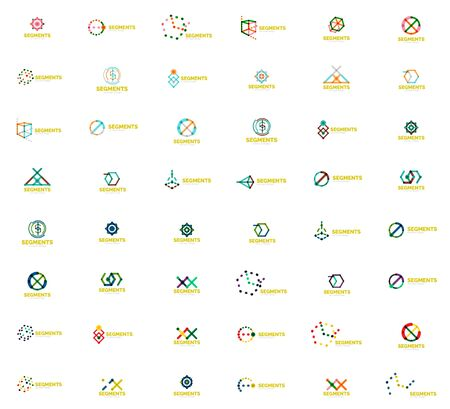 Linear style abstract mega set. Color lines in various geometric shapes. Universal branding emblems