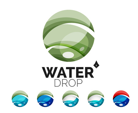 distilled water: Set of abstract eco water icons, business nature green concepts, clean modern geometric design. Created with transparent abstract wave lines