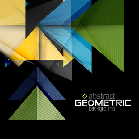 black textured background: Textured paper geometric shapes on black. Vector abstract background