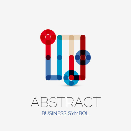 hitech: Minimalistic linear business icons, , made of multicolored line segments. Universal symbols for any concept or idea. Futuristic hi-tech, technology element set. Vector illustration
