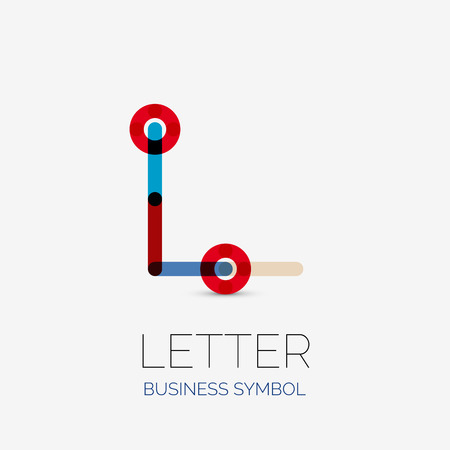 hitech: Minimalistic letter linear business icons, , made of multicolored line segments. Universal symbols for any concept or idea. Futuristic hi-tech, technology element set. Vector illustration. Illustration