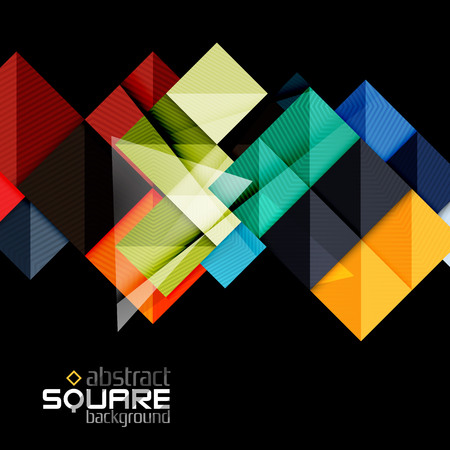Vector color geometric shapes on black background. Illustration