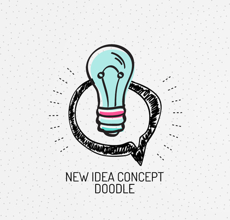 electric bulb: Vector multicolored hand-drawn doodles, icon, stamp. Light bulb, idea concept