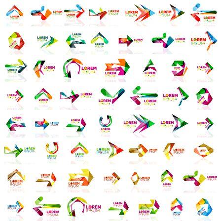 flecha direccion: estilo de papel flecha conjunto de mega. ilustración vectorial