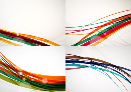 Conjunto de fondos abstractos. Líneas de onda de la curva con efectos de luz y sombra, rayas estilo arco iris y bengalas