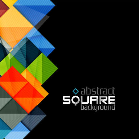 glossiness: Glossy color squares on black. Geometric abstract background for your message. Vector Illustration