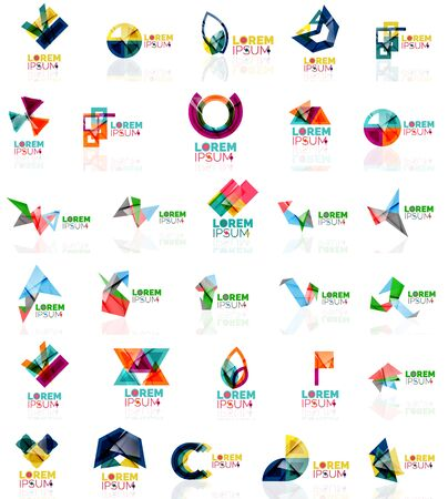 square tape: Collection of colorful abstract origami logos. Company universal concept branding identity emblem, elements, buttons