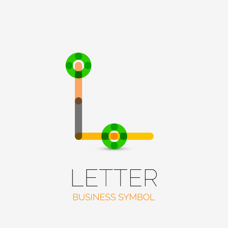 hitech: Minimalistic letter linear business icons, logos, made of multicolored line segments. Universal symbols for any concept or idea. Futuristic hi-tech, technology element set. Vector illustration.