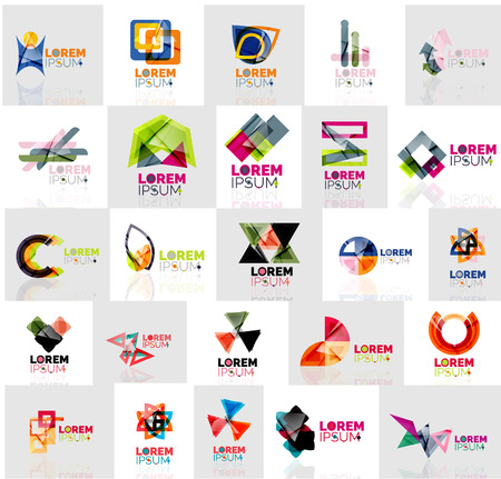 flower logo: Collection of colorful abstract origami logos. Company universal concept branding identity emblem, elements, buttons