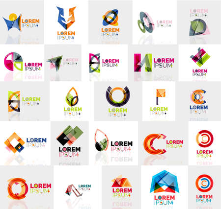 abstract logos: Collection of colorful abstract origami logos. Company universal concept branding identity emblem, elements, buttons