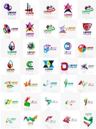 Mega Satz von Papier-Logo abstrakten geometrischen Formen. Unternehmen universelles Konzept Branding Identität Embleme, Design-Elemente, Symbole Vorlagen