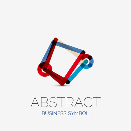 hitech: Minimalistic linear business icons, logos, made of multicolored line segments. Universal symbols for any concept or idea. Futuristic hi-tech, technology element set. Vector illustration Illustration