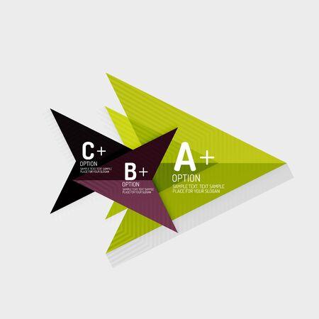 Formes géométriques abstraites de style de papier avec des options infographiques. Modèle de conception universelle abstraite. Illustration vectorielle
