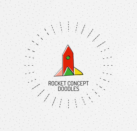 handdrawn: Vector multicolored hand-drawn doodles, icon, stamp. Rocket concept