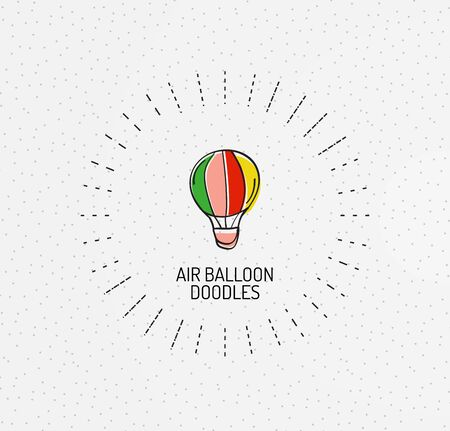high technology: Vector multicolored hand-drawn doodles, icon, stamp. Balloon concept Illustration