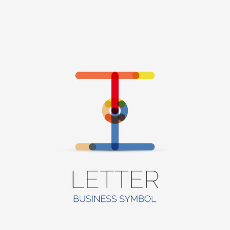 Minimalistic Letter Linear Business Icons Made Of Multicolored