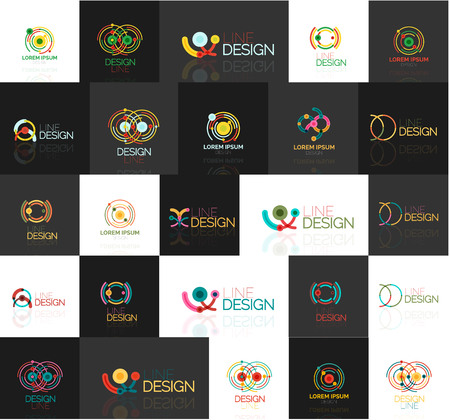 convergence: Triangle geometric shapes, set of abstract logos. Vector illustration - branding, corporate business company logotype collection Illustration