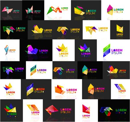 abstract logos: Triangle geometric shapes, set of abstract logos. Vector illustration - branding, corporate business company logotype collection Illustration