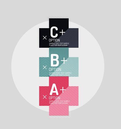 Style papier des formes géométriques abstraites avec des options infographiques. Modèle de conception universelle abstraite. Vector illustration