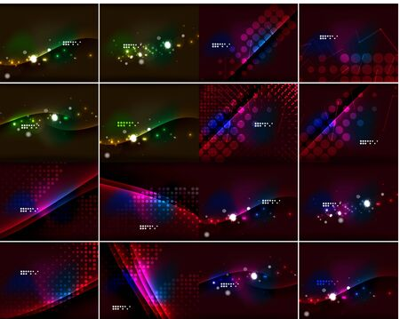 flares: Set of glowing lines in dark space with sparkling, lens flares and glittering. Vector backgrounds