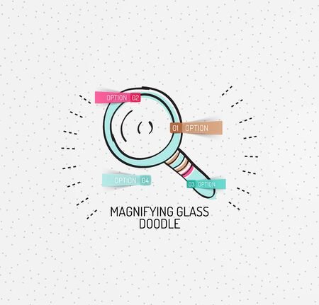 handdrawn: Vector multicolored hand-drawn doodles, icon, stamp. Magnifying glass concept. Drawing