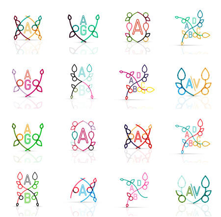 abstract logos: Set of linear abstract logos. Swirl, circle, infinity loop and other concepts. Logotype brand templates. Vector illustration