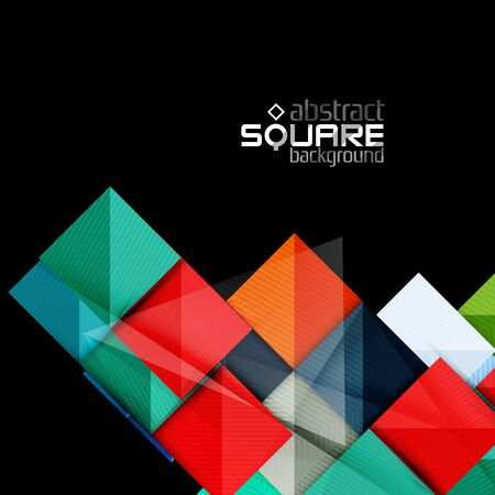 vacant sign: Glossy color squares on black. Geometric abstract background for your message. Vector Illustration