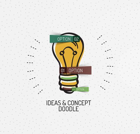 light bulb low: Vector multicolored hand-drawn doodles, icon, stamp. Light bulb, idea concept