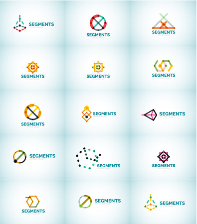 alliance: Abstract logo, thin line linear geometrical design. Vector set of business symbols. Illustration