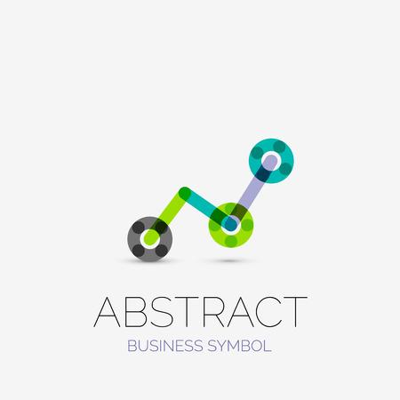 Iconos de negocios lineal minimalista, logotipos, hechos de segmentos de líneas multicolores. Símbolos universales para cualquier concepto o idea. Futurista de alta tecnología, conjunto de elementos de tecnología. Ilustración vectorial