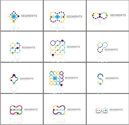 logos de empresas: Conjunto de logotipos abstractas lineales y formas de remolino. Emblema de la empresa, icono empresarial. Ilustración vectorial Vectores