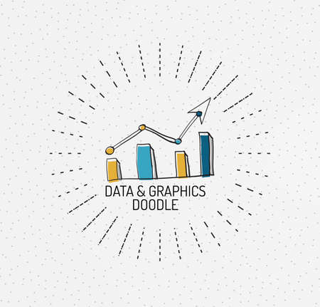 Vector multicolored hand-drawn doodles, icon, stamp. Chart or graphic concept. Drawing