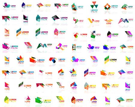Mega set of paper logo abstract geometrical shapes. Company universal concept branding identity emblems, design elements, symbols templates Logo