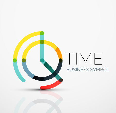 벡터 추상 로고 아이디어, 시간 개념 또는 시계 비즈니스 아이콘. 겹쳐진 여러 줄의 선분으로 만들어진 창조적 인 로고 타입 디자인 템플릿
